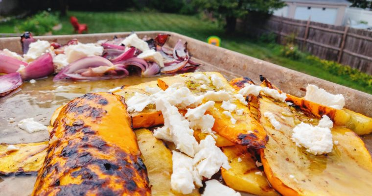 Grilled, Marinated Zucchini and Onions with Feta
